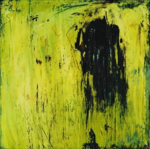 SOLD - 2 BEAN DANCE-HOTEVILLA acrylic-micaceous iron oxide on canvas 46x46in.
