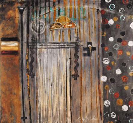 9 SHRINE-ORIBI acrylic-gold leaf-micaceous iron oxide on canvas 84x78in. Diptych