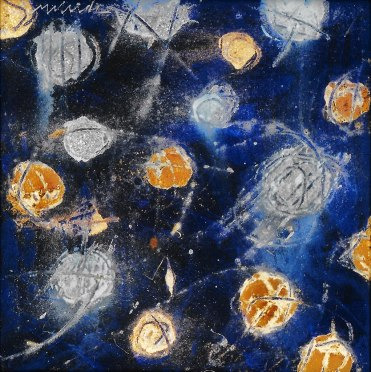KOSHARE 9 acrylic-gold leaf-sand-diamond dust on canvas 12x12in.