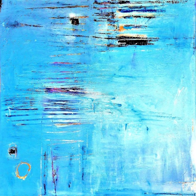 Offshore CoteDAzur acrylic-mixed media on canvas 56x56in.