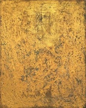 "UNTITLED 14 acrylic/sand/gold leaf/mica/glitter/diamond dust on canvas 30"" x 24"""
