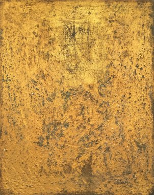 "UNTITLED 14 acrylic/sand/gold leaf/mica/glitter/diamond dust on canvas 30"" x 24"""