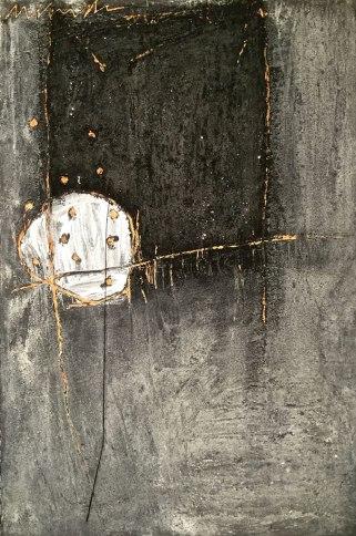 "UNTITLED 24 acrylic/sand/powdered pigment/mica/glitter/diamond dust on canvas 36"" x 24"""