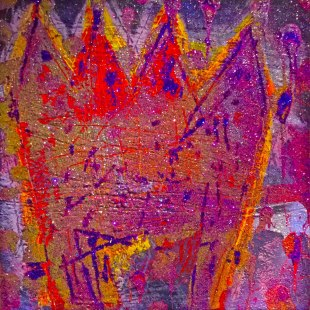 "SOLD - UNTITLED 29 acrylic/sand/powdered pigment/mica/glitter/diamond dust on canvas 30"" x 30"""