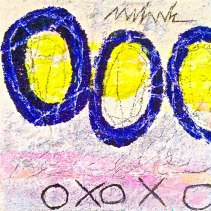 Xs and Os acrylic-mixedmedia on canvas 12x12in.