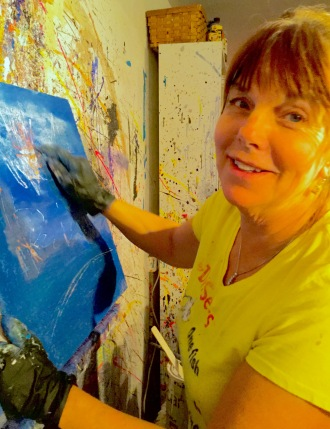Nancy Roberts painting in her own amazing style.