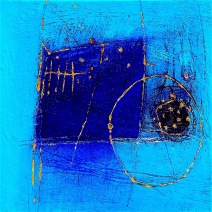 Blue on Blue-acrylic sand powdered pigment mica on canvas 24x24in.