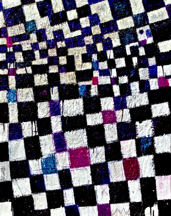 Jester acrylic-sand-mica-glitter-diamond dust on canvas 48x38in.