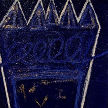 Untitled Indigo - acrylic sand powdered pipment mica glitter diamond dust on canvas 24x24In.