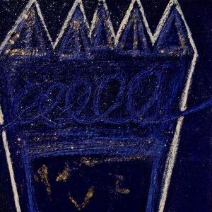 Untitled Indigo - acrylic sand powdered pipment mica glitter diamond dust on canvas 24x24In.