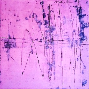 Untitled Pink mixed media on canvas 36x36in.