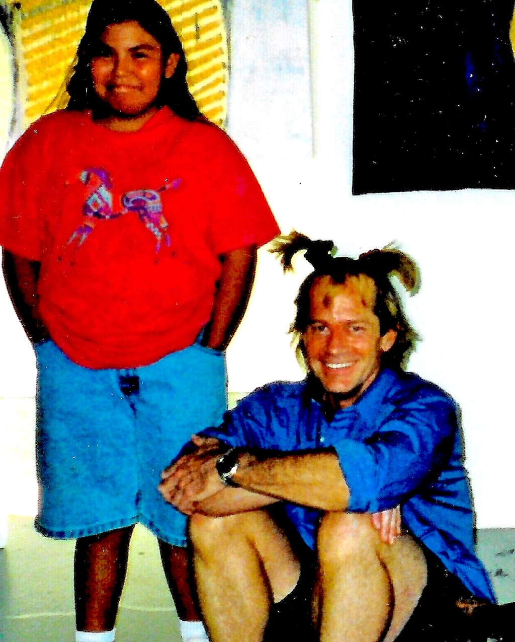 Great- grandaughter of Hopi Cheif Dan Evehema gives me a Koshare hair- do!