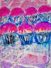 7 CUPCAKES acrylic-sand-powdered pigment-glitter-diamond dust on canvas 40x30in.