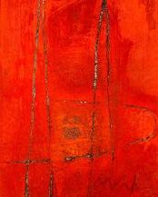 Saffron acrylic-sand-powdered pigment-mica-glitter-diamond dust on canvas 36x24in.