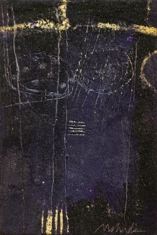 "UNTITLED 6 acrylic/sand/powdered pigment/mica/gold leaf/diamond dust on canvas 36"" x 24"""