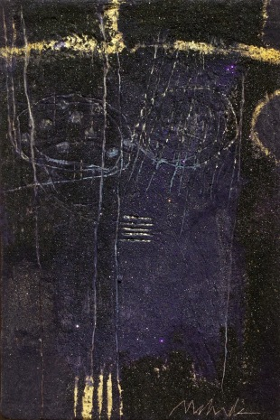 "UNTITLED 6 acrylic/sand/powdered pigment/mica/gold leaf/diamond dust on canvas 36"" x 24"""