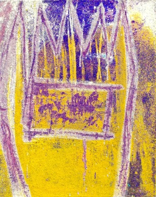 Untitled Rapunzel acrylic-sand-mica-powdered pigment-glitter- diamond dust on canvas 30x24in.